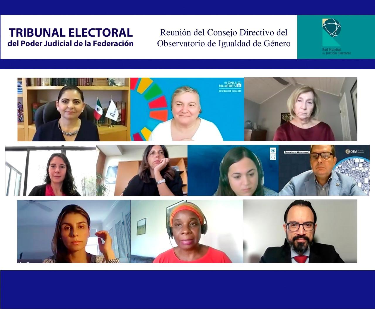 Consejo Directivo del Observatorio de Igualdad de Género de la Red Mundial de Justicia Electoral dará seguimiento a violencia política por razón de género en todo el mundo