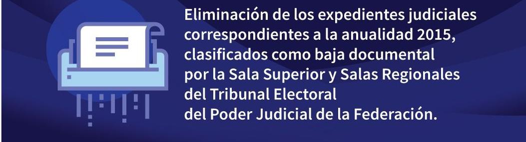 ELIMINACIÓN DE LOS EXPEDIENTES JUDICIALES CORRESPONDIENTES A LA ANUALIDAD 2015