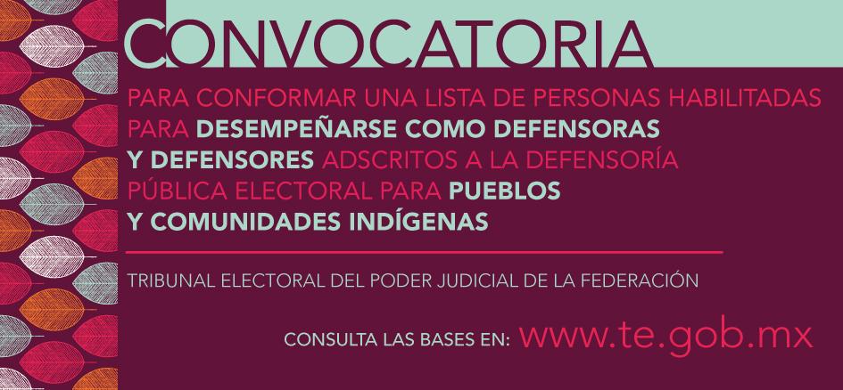 Lista con los nombres de las y los profesionistas habilitados para desempeñar los cargos de Defensora o Defensor Público Electoral para Pueblos y Comunidades Indígenas