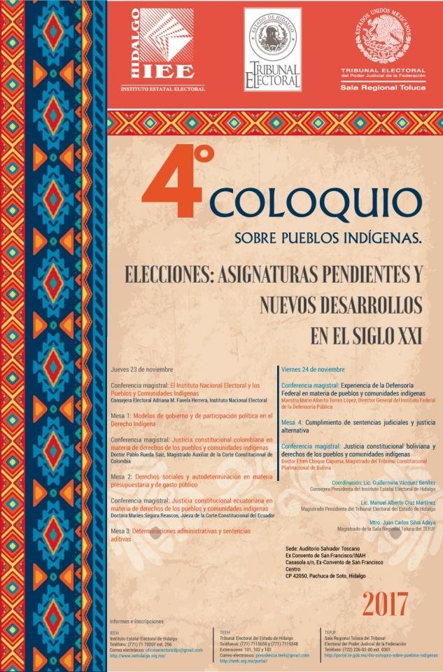 4to Coloquio Sobre pueblos indígenas Elecciones: Asignaturas pendientes y nuevos