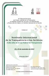 Imagen del Cartel Seminario Internacional de la Transparencia a los Archivos.