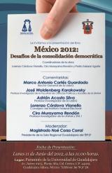 """Cartel, Presentación del libro """"México 2012: Desafíos de la consolidación democr"""
